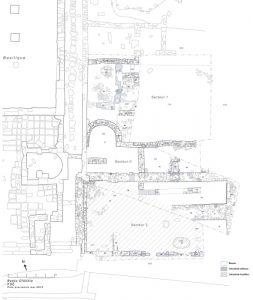 Fig. 2. Plan de la zone d'intervention à la fin de la campagne 2012 (DAO: C. Louvion).