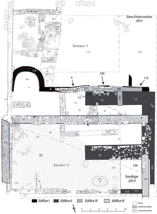 Fig. 3. Plan schématique et provisoire des structures mises au jour depuis 2011 dans le secteur sud-est du forum (DAO Chr. Louvion & L. Brassous).