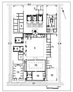 Fig. 1. Localisation en gris de la zone de fouilles dans le centre monumental de Baelo Claudia.