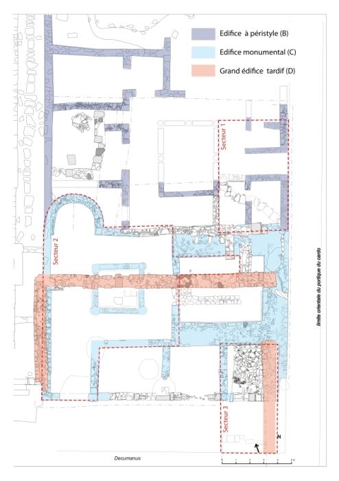 Fig. 2. Plan des édifices B, C et D identifiés dans le secteur sud-est du forum (DAO Chr.Louvion).
