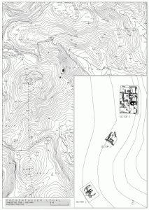 Fig. 1. Plan général des vestiges en cours de fouille du complexe minéralurgique et situation sur le Cabezo del Pino.