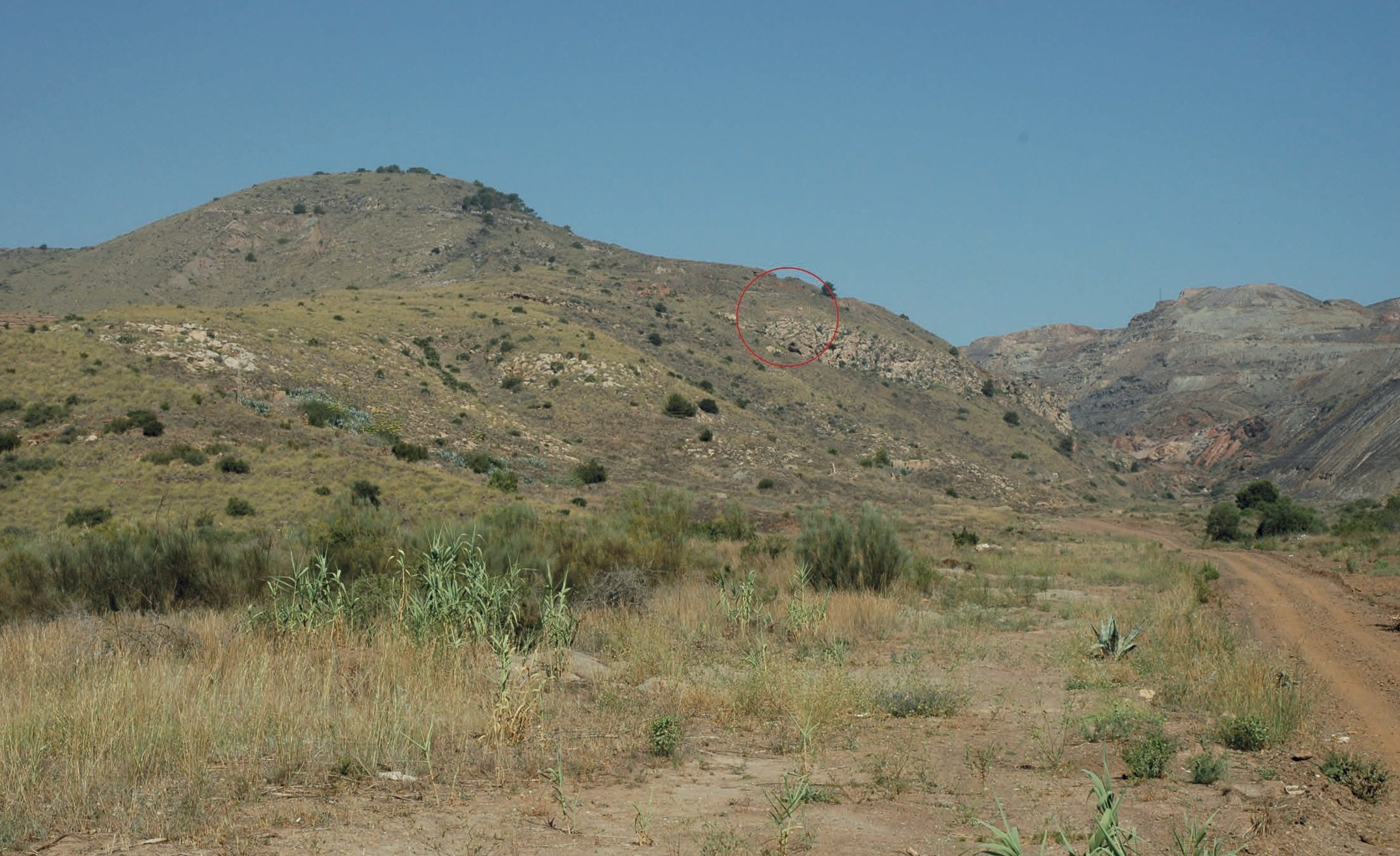 Fig. 1. Vue du versant est du cabezo, prise depuis la Rambla de la Crisoleja (Portmán). Le cercle rouge signale la situation du site archéologique.