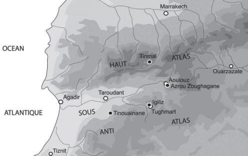 Fig.1. Sud marocain. Vallée du Sous, Haut-Atlas et Anti-Atlas. Les principaux sites d'époque almohade sont indiqués par des points noirs.