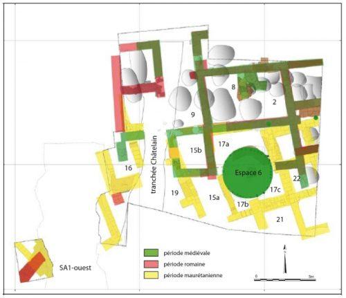 Fig. 1. Relevé général des structures bâties sur le tell (Ensemble 5) montrant la pérennité des tracés au cours des trois phases d'occupation (S.Sanz).