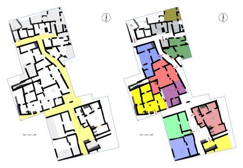 Fig.1. — Plan schématique des vestiges. À gauche, les zones hachurées correspondent aux interventions menées en 2015. À droite, identification des différentes unités domestiques et artisanales (ces dernières en gris)