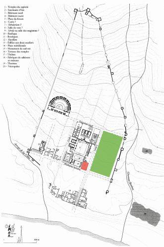 Fig.1. — Localisation du secteur de fouilles de Baelo Claudia et de l'îlot objet des prospections géophysiques (plan d'après Sillières, 1995, p.86)