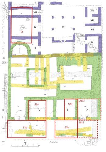 Fig.2. — Plan des structures découvertes dans le secteur sud-est du forum depuis 2012 et localisation des secteurs de fouilles ouverts en 2016. En violet, la «grande domus»; en vert, l'édifice monumental; en jaune, les différentes occupations tardives (DAO Chr.Louvion)
