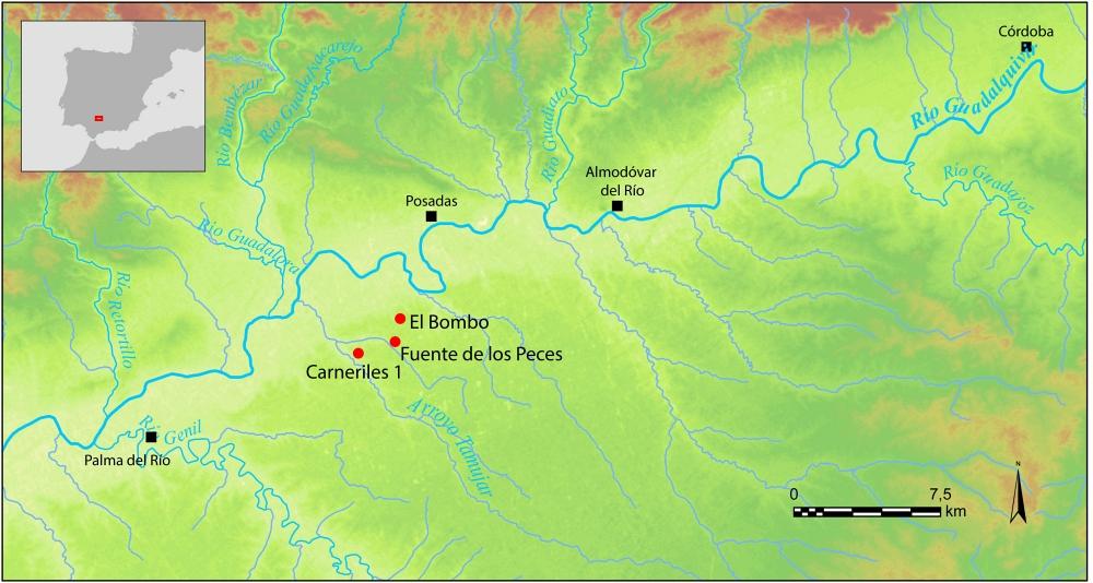 Fig. 5 — Localisation des ateliers d'amphores du bassin versant du Tamujar. Doc. I. González Tobar, LabEx Archimede del. 2017.