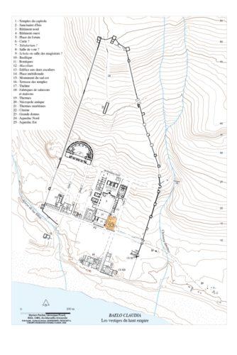 Fig. 1 - Localisation du secteur de fouilles de Baelo Claudia (plan de M. Fincker et V. Picard, IRAA).