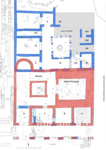 Fig. 2 - Plan des structures découvertes dans le secteur sud-est du forum depuis 2012. En bleu, la « grande domus » ; en rouge, l'édifice monumental du Haut-Empire (DAO Chr. Louvion).