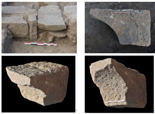 Fig. 4 - Bloc 5184 en remploi dans le mur est de l'absidiole D1m, in situ (en haut à gauche) et extrait du mur (autres photos) où il a été replacé à l'identique après un relevé photogrammétrique complet.